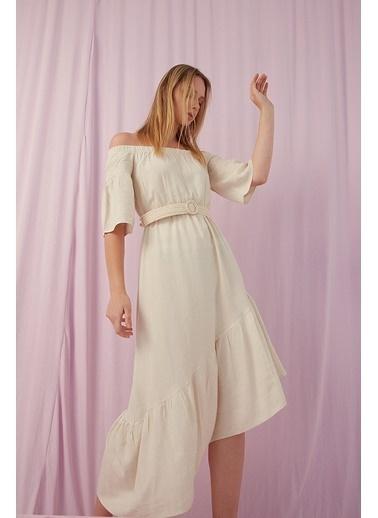 Modaset Düşük Omuz Asimetrik Elbise Bej Bej